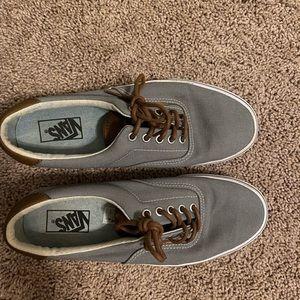 Gray and brown vans sneakers